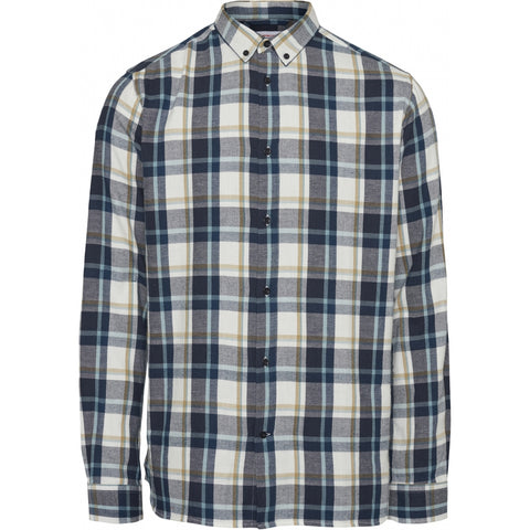 Knowledge Cotton Apparel ELDER regular fit light checked shirt Shirt 1001 Total Eclipse