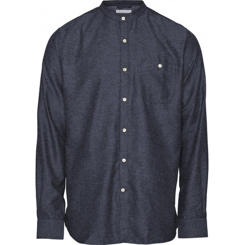 Knowledge Cotton Apparel ELDER regular fit melange flannel shirt stand collar Shirt 1043 Estate Blue
