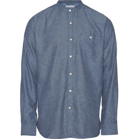Knowledge Cotton Apparel ELDER regular fit melange flannel shirt stand collar Shirt 1188 Dark Denim