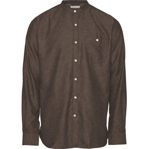 Knowledge Cotton Apparel ELDER regular fit melange flannel shirt stand collar Shirt 1192 Dark Earth