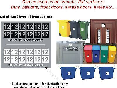 12x Wheelie Bin Stickers House Garage Gate Numbers Self-adhesive 85mm x 85mm - Enhance With Vinyl