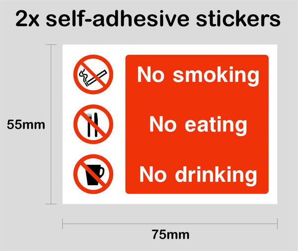 NO SMOKING EATING DRINKING 1 - 2x printed self-adhesive stickers car taxi - Enhance With Vinyl