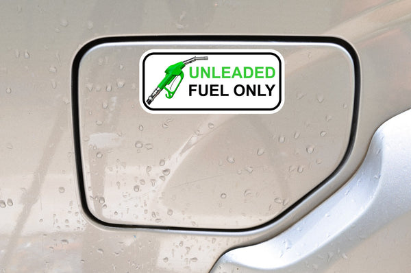 UNLEADED FUEL ONLY - Set of 2 printed colour self-adhesive stickers - Enhance With Vinyl
