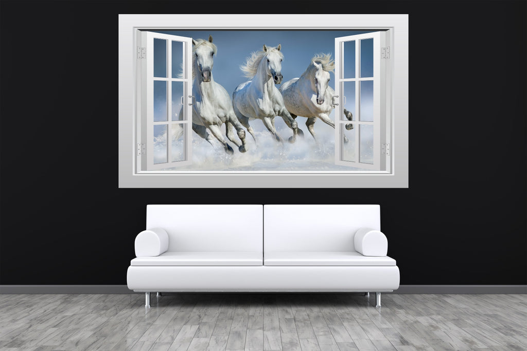 3 white horses galloping in the snow 3d window scape wall art