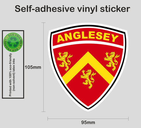 Anglesey county shield sticker - Printed colour vinyl graphic