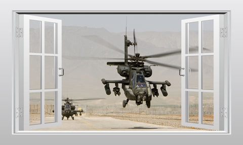 Apache attack helicopter 3D Window Scape Wall Art Poster Sticker
