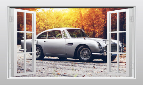 Aston Martin DB5 3D Window Scape Wall Art Poster Sticker