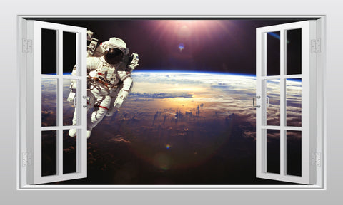 Astronaut space walking 3D Window Scape Graphic Art Mural Wall Sticker - Enhance With Vinyl