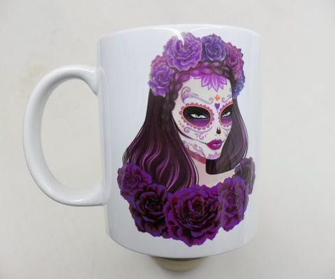 Beautiful Lady Sugar Candy Calavera skull - 11oz mug birthday Christmas xmas gift present
