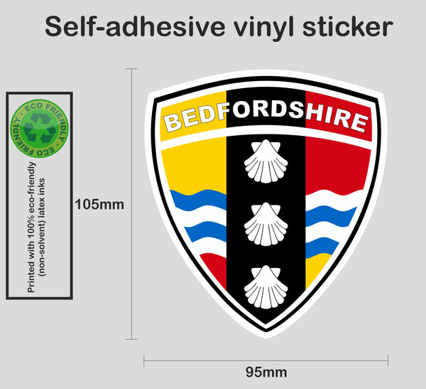 Bedfordshire county shield sticker - Printed colour vinyl graphic