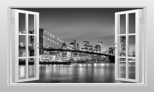 Brooklyn Bridge in New York 3D Window Scape Graphic Art Mural Wall Sticker - Enhance With Vinyl
