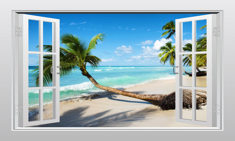 Caribbean tropical sea view #1 3D Window Scape Graphic Art Mural Wall Sticker - Enhance With Vinyl