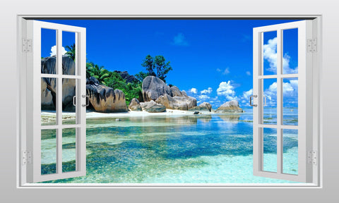 Caribbean tropical sea view #2 3D Window Scape Graphic Art Mural Wall Sticker - Enhance With Vinyl