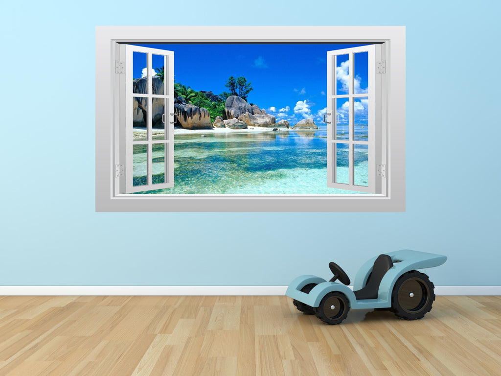 Caribbean tropical sea view #2 3D Window Scape Graphic Art Mural ...