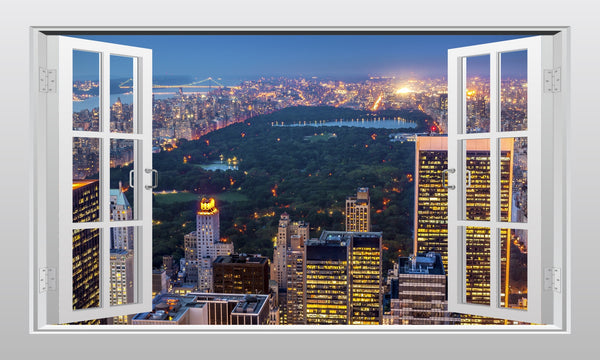 Central Park at night 3D Window Scape Graphic Art Mural Wall Sticker - Enhance With Vinyl