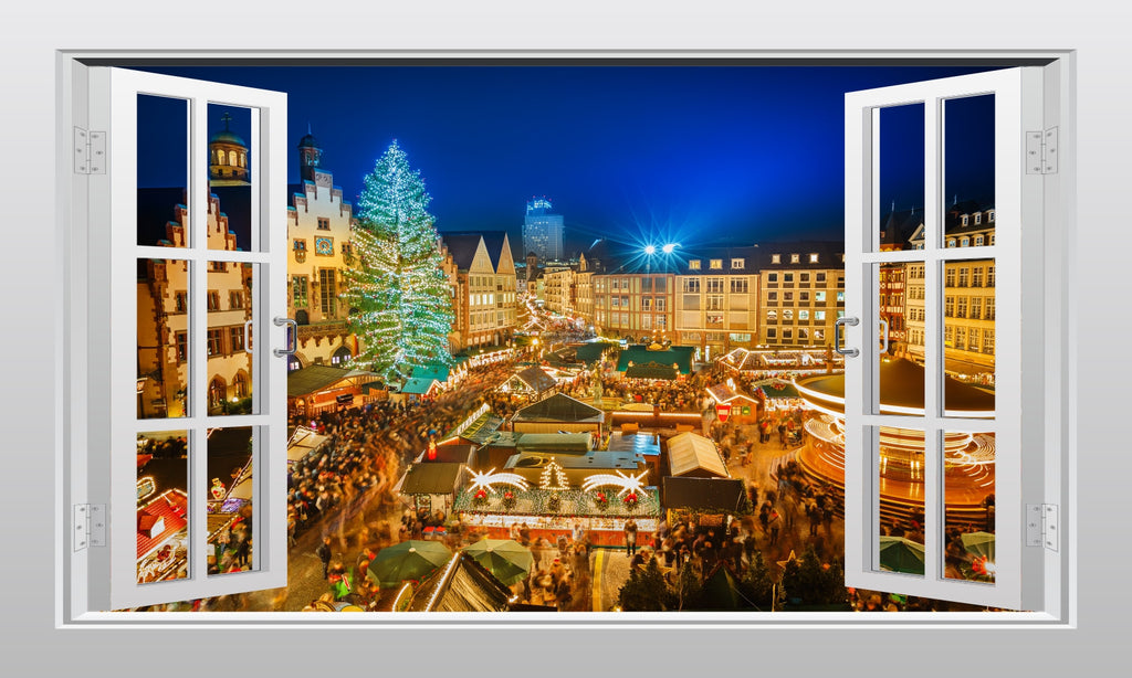 Festive market in Frankfurt 3D Window Scape Graphic Art Mural Wall Sticker - Enhance With Vinyl