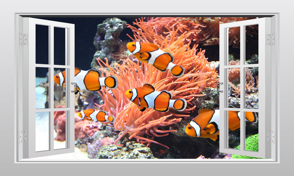 Clown fish and sea anemone underwater 3D Window Scape Graphic Art Mural Wall Sticker - Enhance With Vinyl