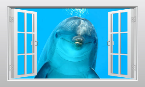 Friendly dolphin underwater 3D Window Scape Graphic Art Mural Wall Sticker - Enhance With Vinyl
