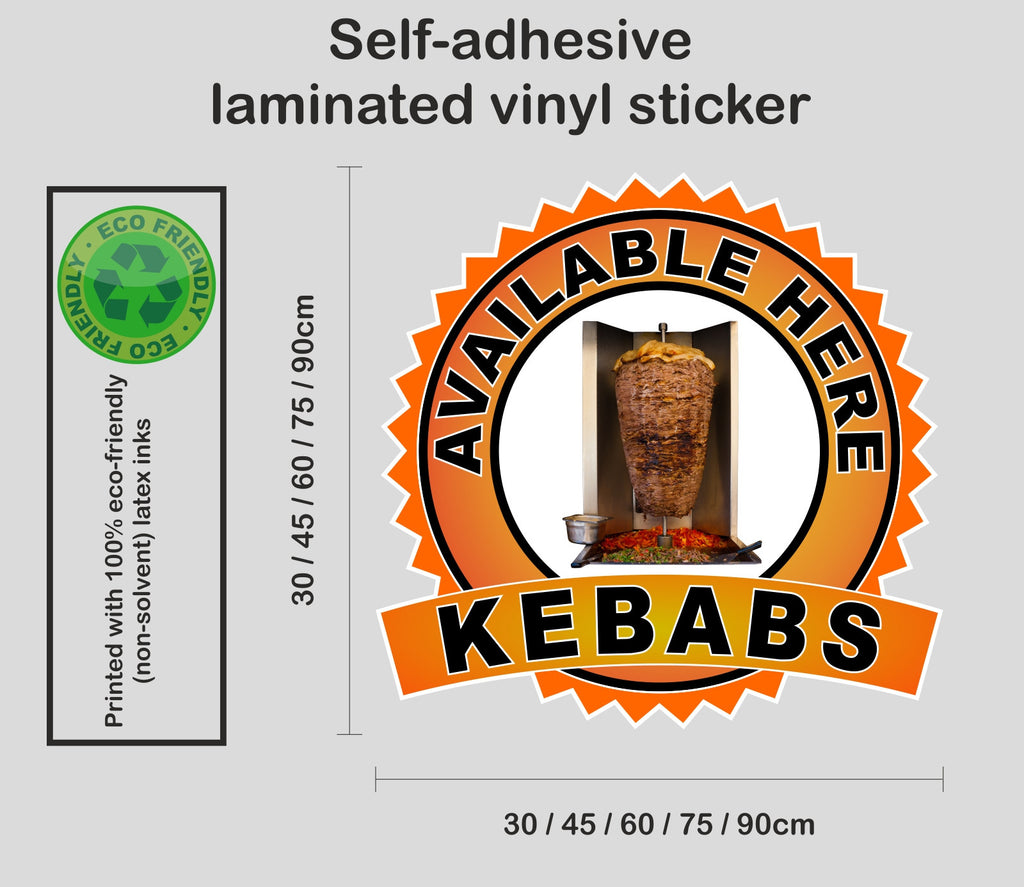 Kebabs Available Here - self-adhesive laminated catering van window sign sticker