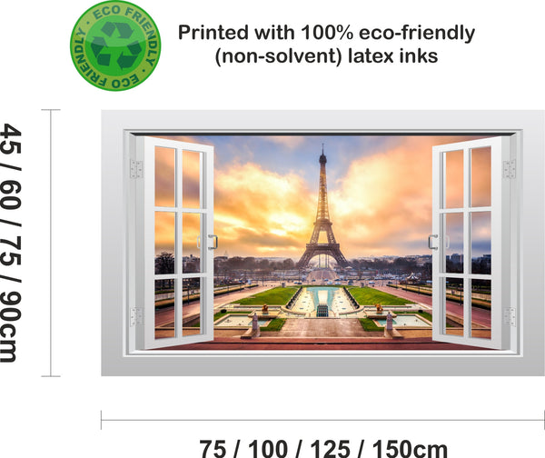 Eiffel tower in Paris, France 3D Window Scape Graphic Art Mural Wall Sticker - Enhance With Vinyl