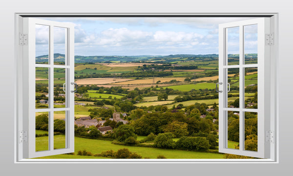 English countryside (Dorset) 3D Window Scape Graphic Art Mural Wall Sticker - Enhance With Vinyl