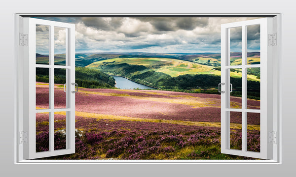 English countryside (Ladybower reservoir, Peak District) 3D Window Scape Wall Art Sticker - Enhance With Vinyl