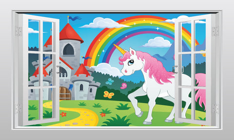 Unicorn castle and rainbow #1 3D Window Scape Graphic Art Mural Wall Sticker - Enhance With Vinyl