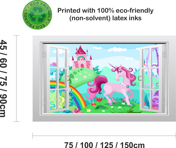 Unicorn castle and rainbow #2 3D Window Scape Graphic Art Mural Wall Sticker - Enhance With Vinyl