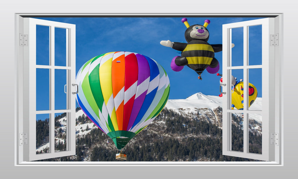 Colourful hot air balloons 3D Window Scape Graphic Art Mural Wall Sticker - Enhance With Vinyl