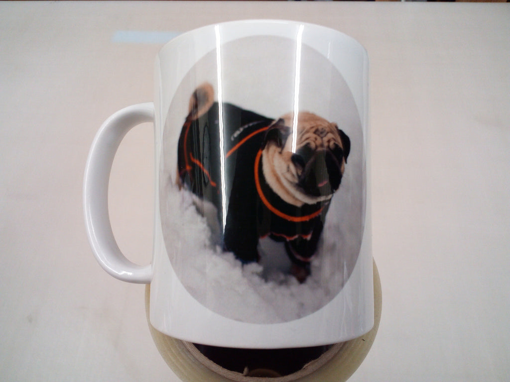 Pug in the snow - 11oz mug birthday Christmas xmas gift present