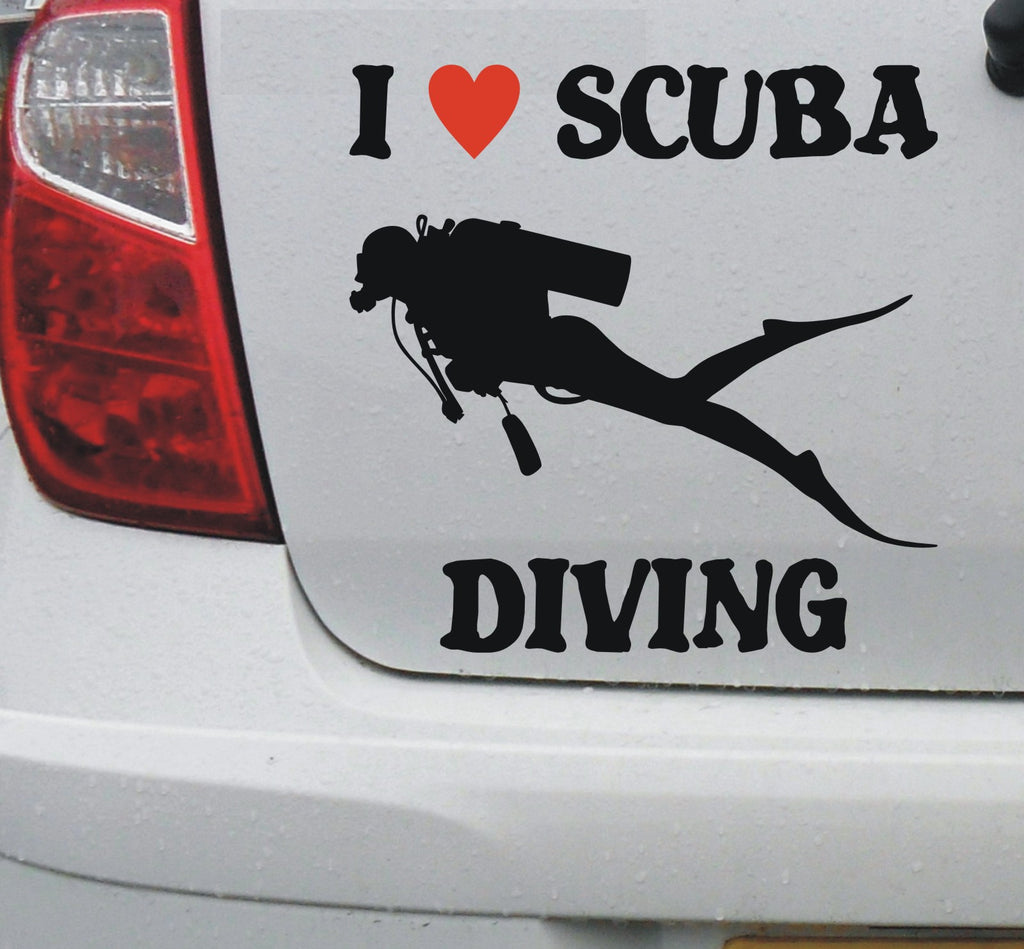 I love SCUBA diving - vinyl decal sticker graphic #1 - Enhance With Vinyl