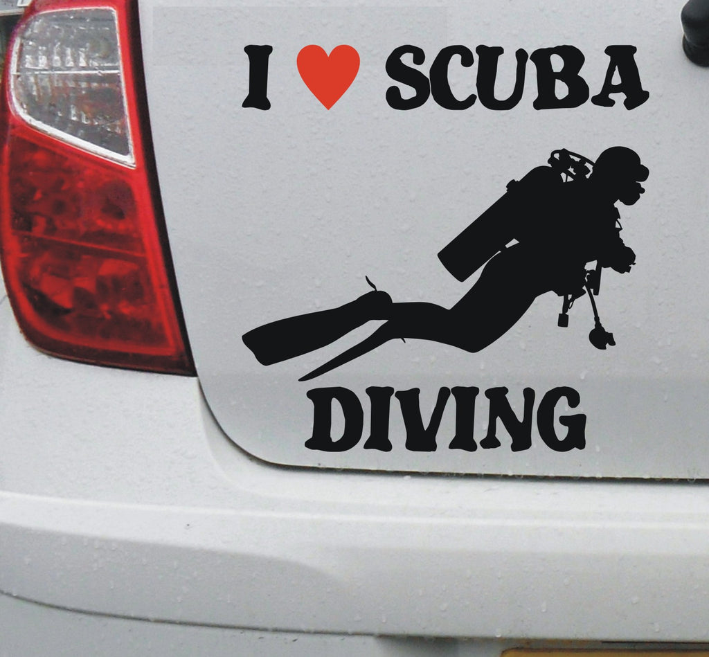I love SCUBA diving - vinyl decal sticker graphic #2 - Enhance With Vinyl