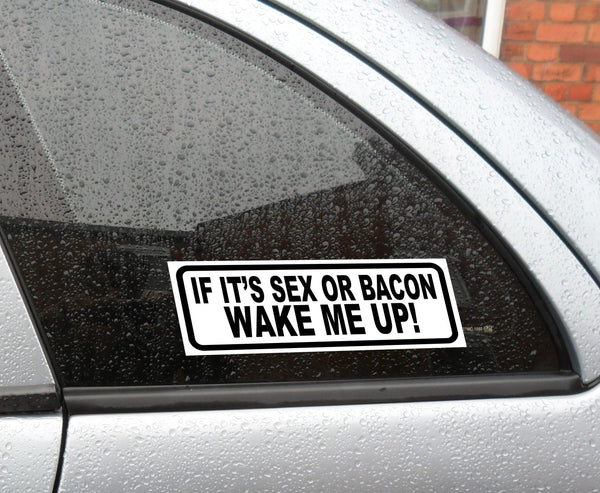 If it's sex or bacon wake me up! funny humorous vinyl sticker decal - Enhance With Vinyl