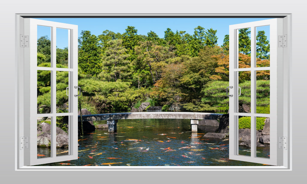 Japanese garden with Koi carp 3D Window Scape Graphic Art Mural Wall Sticker - Enhance With Vinyl