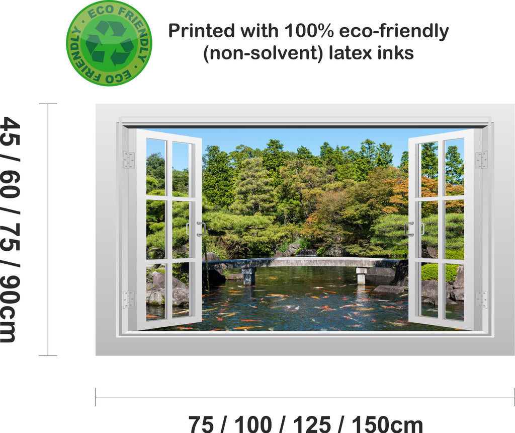 ... Japanese Garden With Koi Carp 3D Window Scape Graphic Art Mural Wall  Sticker   Enhance With ...