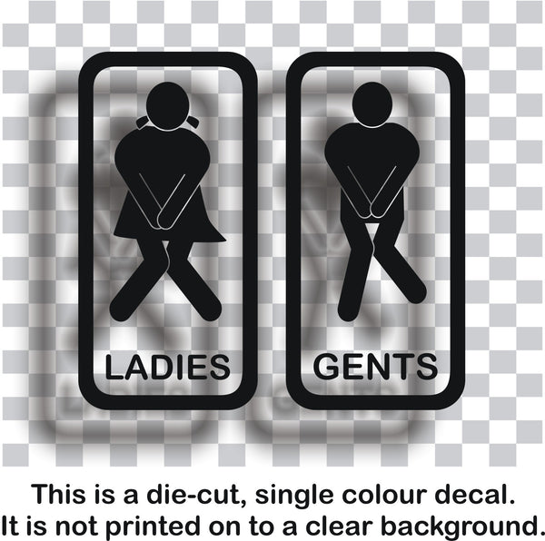 Toilet signs #3 - A pair of humorous vinyl ladies and gents door stickers - Enhance With Vinyl