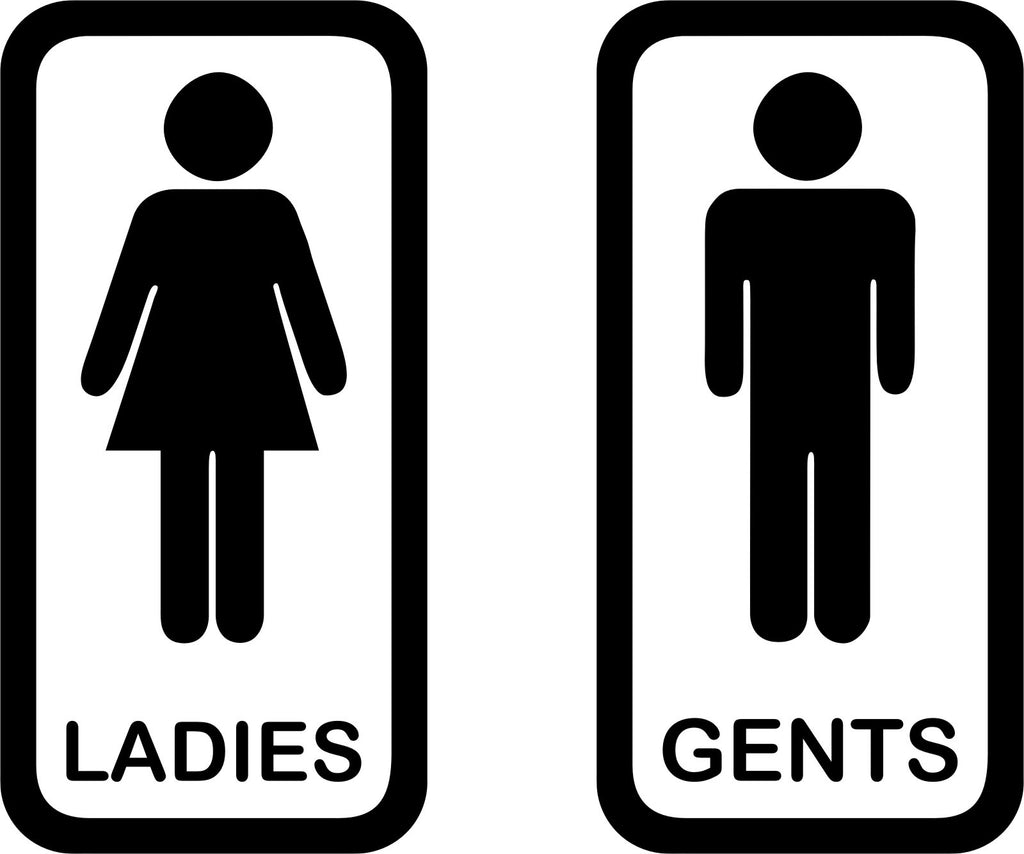 Toilet Signs 4 A Pair Of Vinyl Ladies And Gents Door Stickers Enhance With Vinyl
