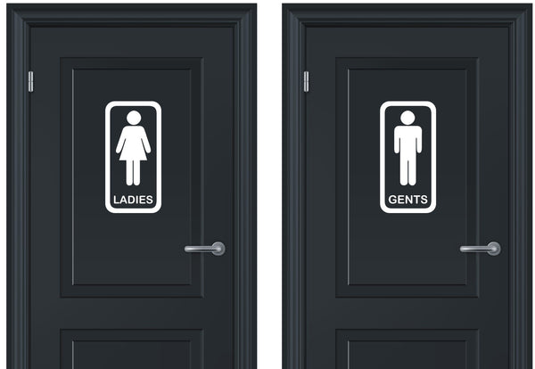 Toilet signs #4 - A pair of vinyl ladies and gents door stickers - Enhance With Vinyl