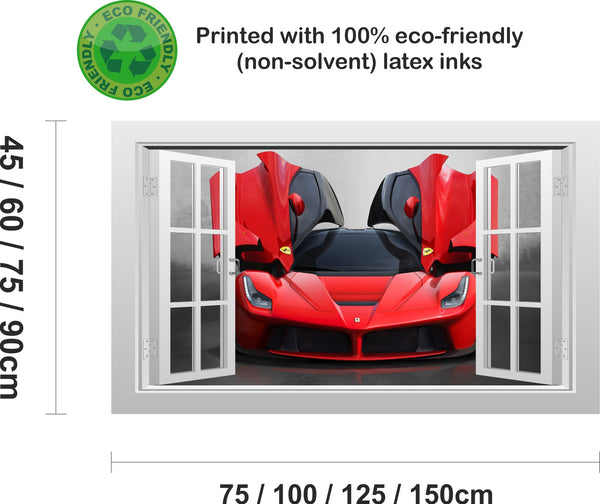 Ferrari LaFerrari supercar #1 3D Window Scape Wall Art Poster Sticker - Enhance With Vinyl