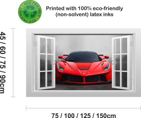 Ferrari LaFerrari supercar #2 3D Window Scape Wall Art Poster Sticker - Enhance With Vinyl