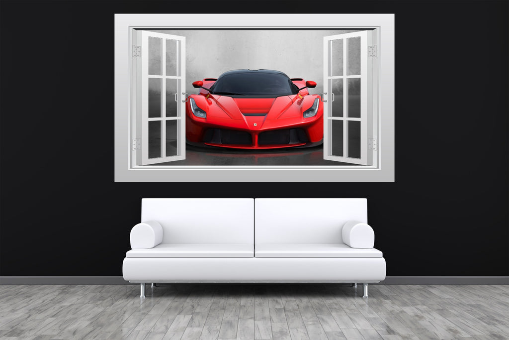 Ferrari Laferrari Supercar Window Scape Wall Art Poster
