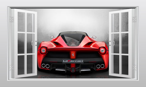 Ferrari LaFerrari supercar #3 3D Window Scape Wall Art Poster Sticker - Enhance With Vinyl