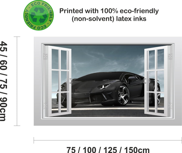 Lamborghini Aventador supercar #1 3D Window Scape Wall Art Poster Sticker - Enhance With Vinyl