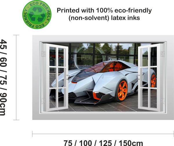 Lamborghini Egoista supercar #1 3D Window Scape Wall Art Poster Sticker - Enhance With Vinyl