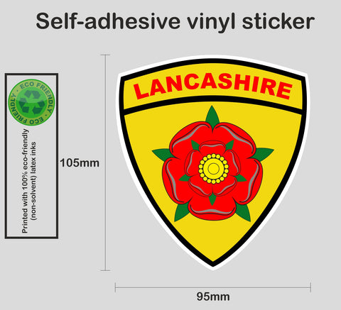 Lancashire county rose shield sticker - Printed colour vinyl graphic