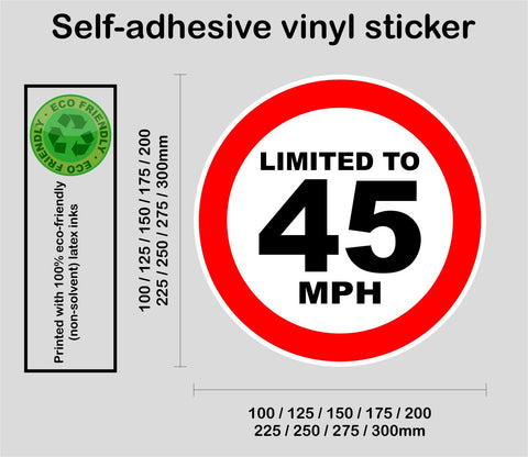 Limited to 45 MPH - speed restricted - printed self-adhesive sticker