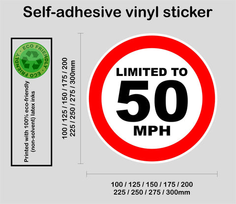 Limited to 50 MPH - speed restricted - printed self-adhesive sticker