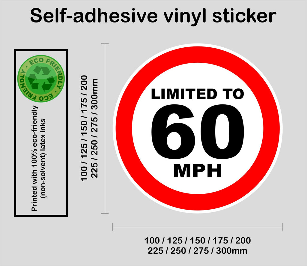 Limited to 60 MPH - speed restricted - printed self-adhesive sticker