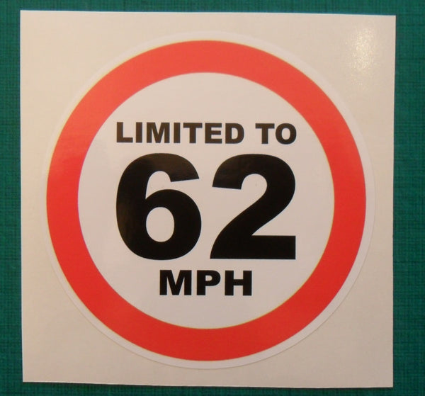 Limited to 62 MPH - speed restricted - printed self-adhesive sticker