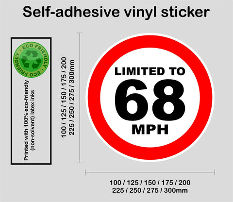 Limited to 68 MPH - speed restricted - printed self-adhesive sticker